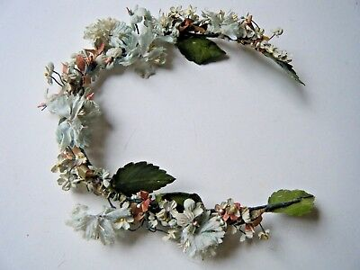Vintage antique Millinery Wreath Fabric flowers Blue & white  French