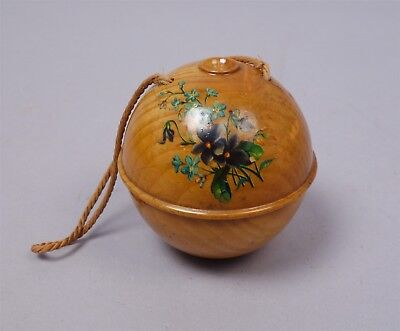 Exceptional 19c Floral Decorated J&P Coats Treen Crochet Cotton Thread Holder