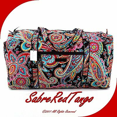 Nwt Vera Bradley Quilted Large Duffel Gym Travelling Bag Floral Parisian Paisley