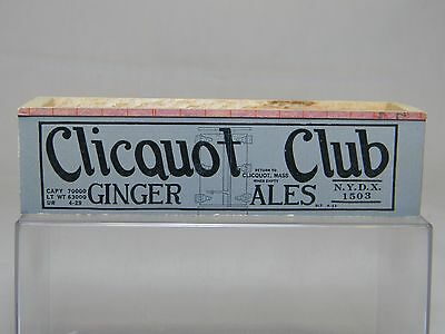 HO VTG 35' Reefer Assembled Wood Body w/Paper Sides  Reefer CLICQUOT CLUB# 1503