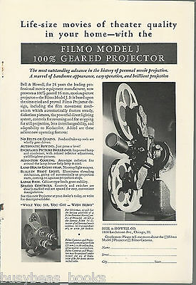 1931 Bell & Howell FILMO advertisement, Model J Projector, 70-D camera