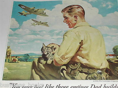 1943 Studebaker advertisement, FLYING FORTRESS, WWII, Father & Son employees