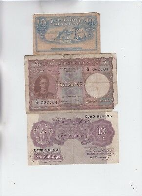 World Currency Collection  9 notes low grade and up