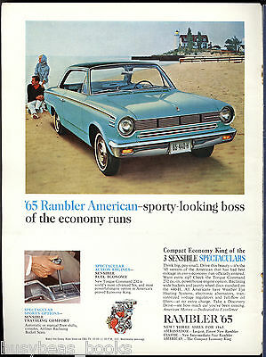 1965 RAMBLER AMERICAN advertisement, blue two-door hardtop 440-H