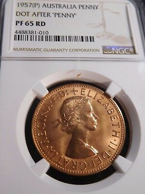"INV #S23 Australia 1957(P) Penny Dot After ""Penny"" NGC Proof-65 Red"