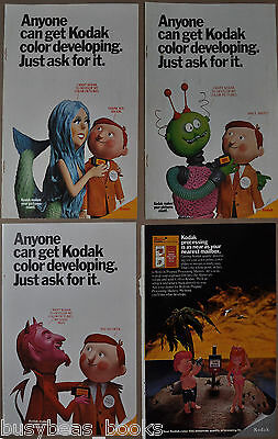 1970-71 KODAK advertisements x4, Stuffed doll series, Alien, Mermaid, Devil