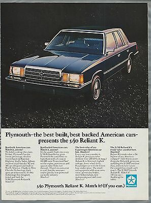 1984 PLYMOUTH RELIANT K advertisement, Plymouth K-Car ad, black sedan