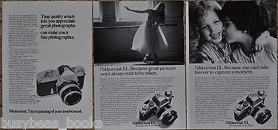 1972-75 NIKKORMAT Camera advertisements x3, NIKON Nikkormat EL & FTN