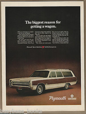 1968 PLYMOUTH Station Wagon advertisement, Sport Suburban wagon, large size ad