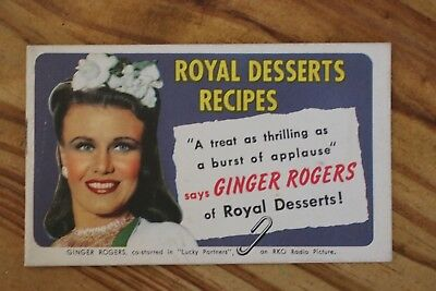 Vintage Royal Desserts Advertising Booklet of Recipes featuring GINGER ROGERS