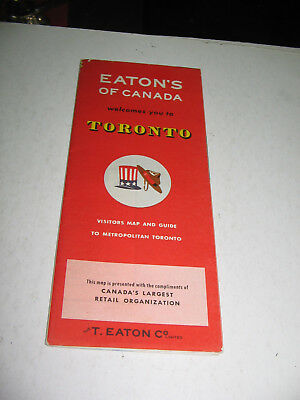 1955 EATON'S of  CANADA VISITORS MAP and GUIDE  of  METRO TORONTO,ONTARIO