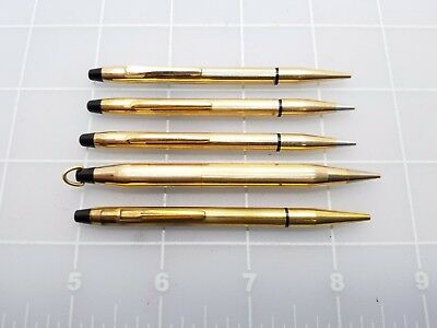 Judd's Lot of 5 Very Nice Vintage Mini Cross Gold Filled Mechanical Pencils