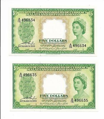 Board of Commissioners of Currency Malaya & British Borneo - $5, 1953. 2 pcs. CU