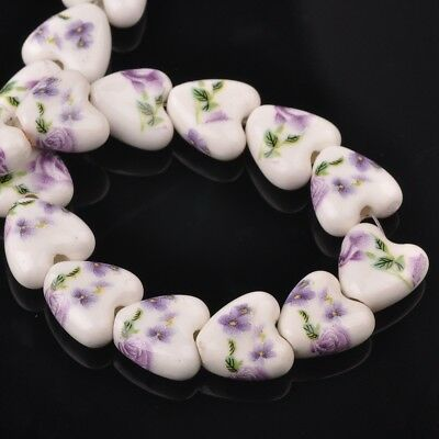 NEW 10pcs 14mm Ceramic Heart Flowers Loose Spacer Beads Findings Pattern #23