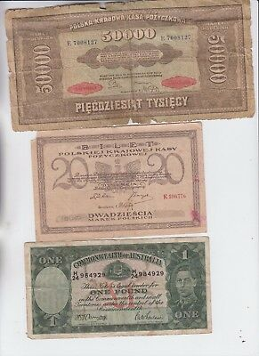 World Paper money Collection  6 notes low grade and up