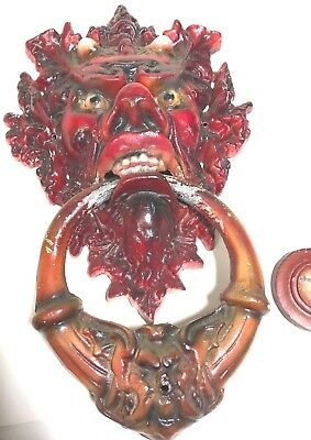 "Vtg Victorian Hand Painted Cast Iron Gargoyle Head Door Knocker 14"" X 10 """