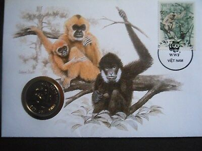 VIETNAM 10 DONG coin Concolor Gibbon Coin & Stamps of the World 1987 Coin cover