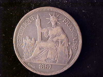 French Indo China One Piastre 1887