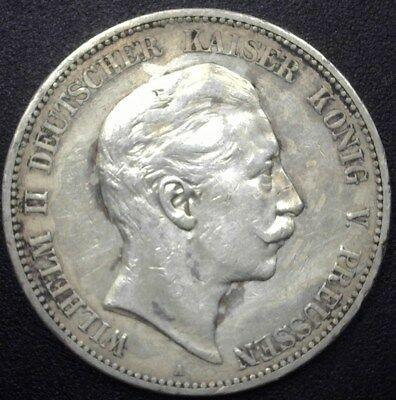 Prussia, Germany 1908-A Silver 5 Mark  About Uncirculated