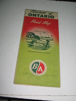 1949 B/a British American Oil Road Map Province Of Ontario,canada