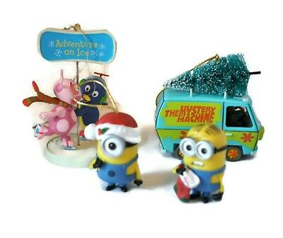 Kids TV Shows 5 Assorted Christmas Ornaments Minions Backyardigans Scooby Doo