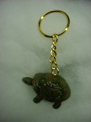 TURTLE Tortoise Figurine HAND PAINTED KEYCHAIN Resin Christmas Ornament Key Ring
