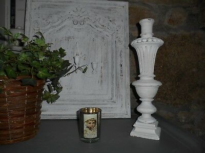 Balustre ancienne, patine vieillie blanche, style NORDIQUE/ SHABBY CHIC.
