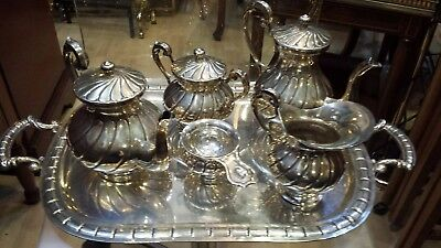 2286g ELEGANT COLONIAL CANTELIVERED sterling silver 6 PIECES TEA-COFFEE set