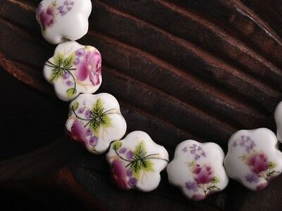 NEW 10pcs 15X6mm Ceramic Flower Shape Spacer Loose Beads Findings Pattern  #18