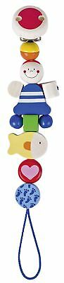 Heimess PIRATE CLIP ON DUMMY/SOOTHER/PACIFIER CHAIN Wooden Baby/Child Toy BN