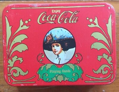 Coca Cola Playing Cards in Tin W/2 Standard Decks Red and Green Score Pad&Pencil