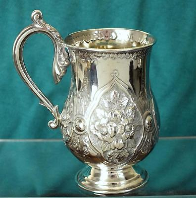 Antique Solid Silver Embossed Pedestal Mug / Tankard - Bham 1892 - CH Cheshire