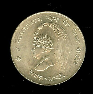 Nepal Vs2025 (1968) Silver 10 Rupees -F.a.o.- Gem Uncirculated
