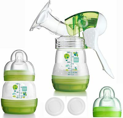 Mam 4 CUSHION MANUAL BREAST PUMP Easy Breast Feeding Bottles Included BN
