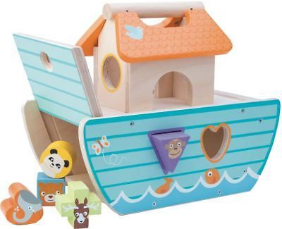 Le Toy Van LE PETIT ARK Wooden Animal Boat Baby Christening Shape Sorter BN