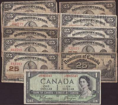 10x Dominion of Canada 25 Cent shinplasters & 1x 1954 Devils Face $1 damaged