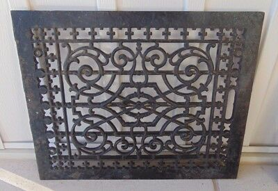 "Ornate Victorian Cast-Iron Heat Register Floor Grate, LARGE 16"" x 20"", Antique"