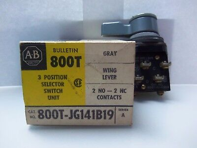 New Allen Bradley 800T-JG141B19 3 Position Selector Switch Series A NIB