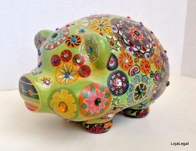 PIGGY BANK - Vintage Hand Painted HIPPIE RETRO 60's FLOWER POWER Mandala *LOOK*
