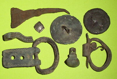 COLLECTION Ancient ROMAN ARTIFACTS coin jewelry buckle weight lot antique silver