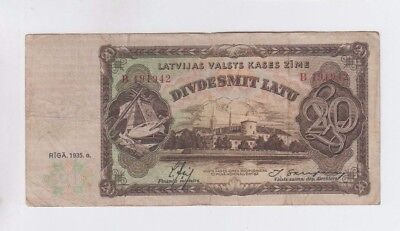 Latvia Paper Money one old note vg