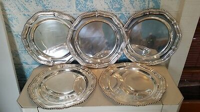 Antique Gadroon Silverplated Charger Dinner Plates Sold by Gump's San Francisco