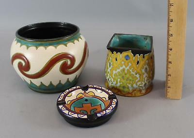 2 Antique Hand Painted Gouda Holland Dutch Art Pottery Vases & Small Ashtray