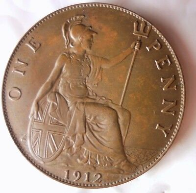 1912 GREAT BRITAIN PENNY - AU  - Strong Value - Great Coin - Lot #N21