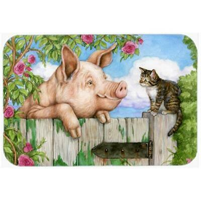 Carolines Treasures Pig at the Gate with the Cat Glass Large Cutting Board
