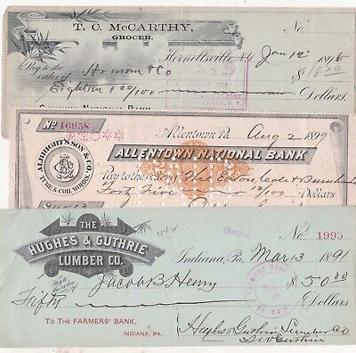 "5 Old Checks From The 1890""s"