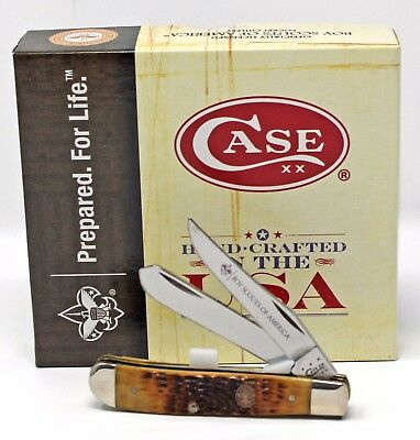 Case Boy Scouts of America Jigged Antique Bone Mini Trapper
