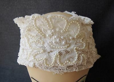 Vintage Faux Pearls Flowers Lace Bride Marriage Bridal Crown Fascinator