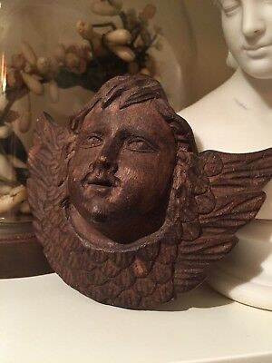 Vintage Folkart Hand Carved  Primitive Early Wooden Angel