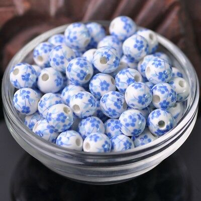 NEW 20pcs 10mm Round Smooth Ceramic Loose Spacer Beads Flower Pattern #3